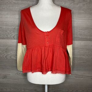Red & Cream Free People Top Size Small